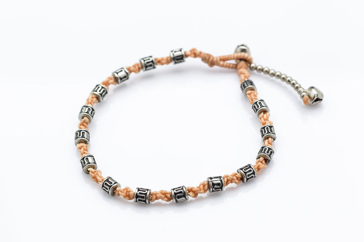Silver Tube Braided Waxed String Anklet in Peach