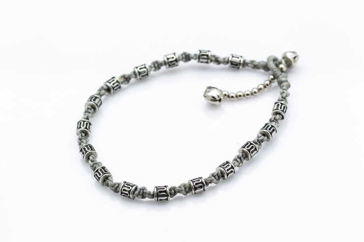 Silver Tube Braided Waxed String Anklet in Gray