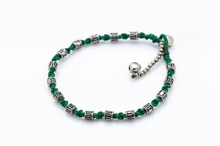Silver Tube Braided Waxed String Anklet in Green