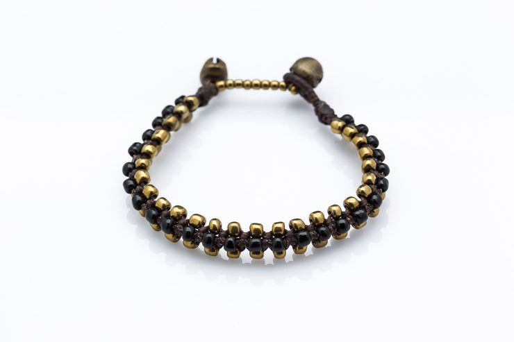 Triple Brass Beads Bracelet with Black Beads