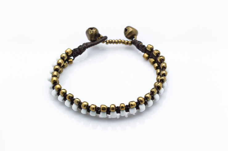 Triple Brass Beads Bracelet with White Beads