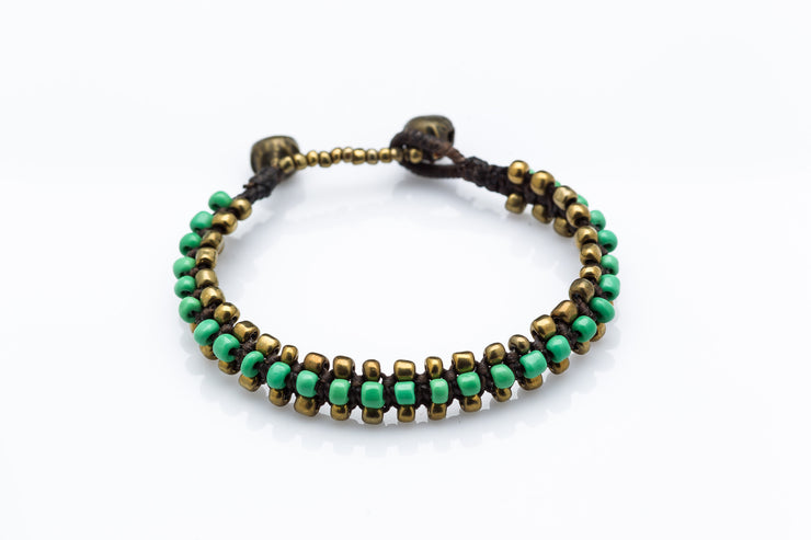 Triple Brass Beads Bracelet with Green Beads