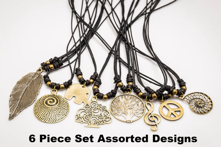 Assorted 6 Piece Set -  Brass Pendant Necklace