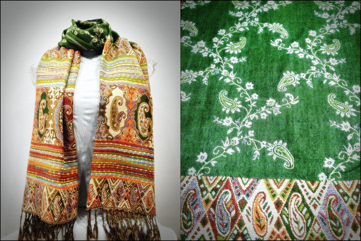 Nepal Floral Paisley Pashmina Shawl Scarf in Green
