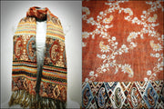Nepal Floral Paisley Pashmina Shawl Scarf in Orange