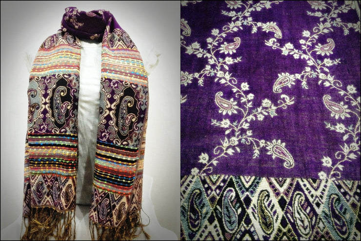 Nepal Floral Paisley Pashmina Shawl Scarf in Purple