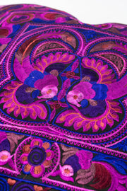 Hmong Hill Tribe Embroidered Peacock Pillowcase in Purple