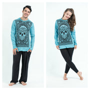 Unisex Trippy Skull Long Sleeve T-Shirt in Turquoise