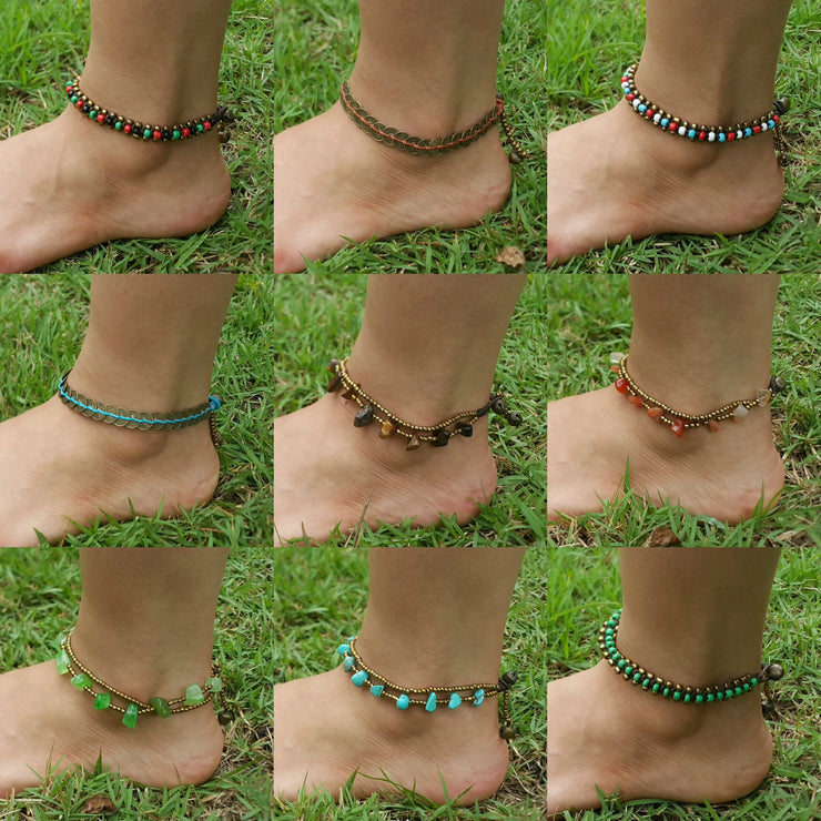 Brass Coin Waxed String Anklet in Turquoise