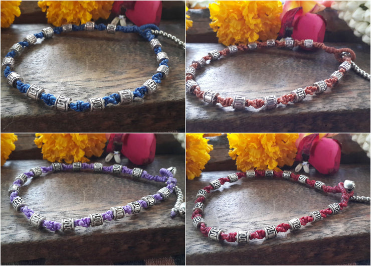 Silver Tube Braided Waxed String Anklet in Maroon