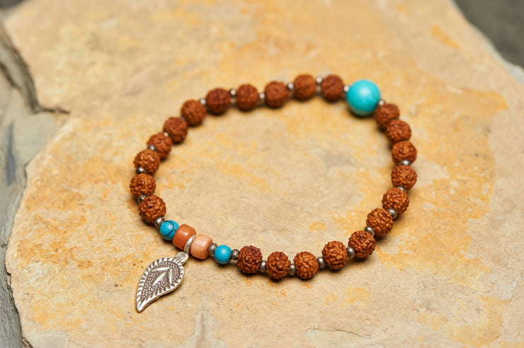 Tibetan Rudraksha Beads Turquoise and Coral Stones Bracelet with Leaf Charm