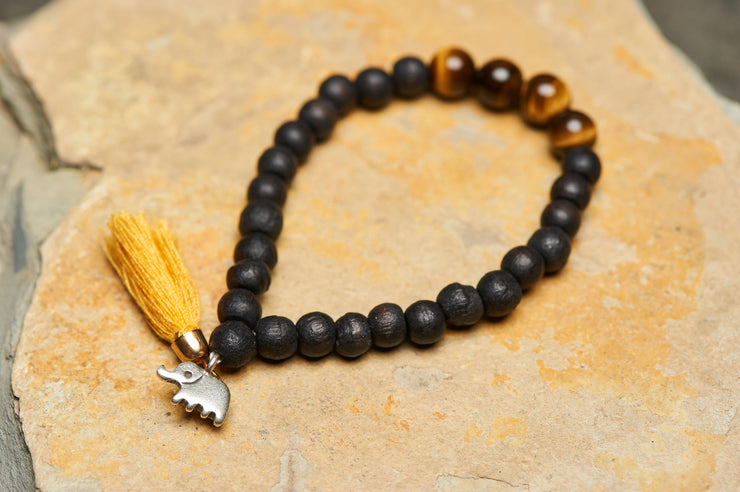 Tibetan Black Bodhi Beads and Tiger Eye Stones Bracelet with Elephant Charm