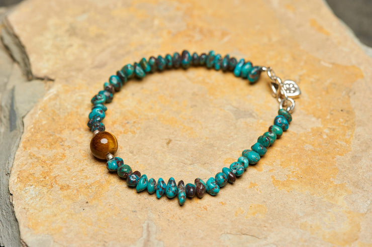 Tibetan Turquoise and Tiger Eye Stones Bracelet