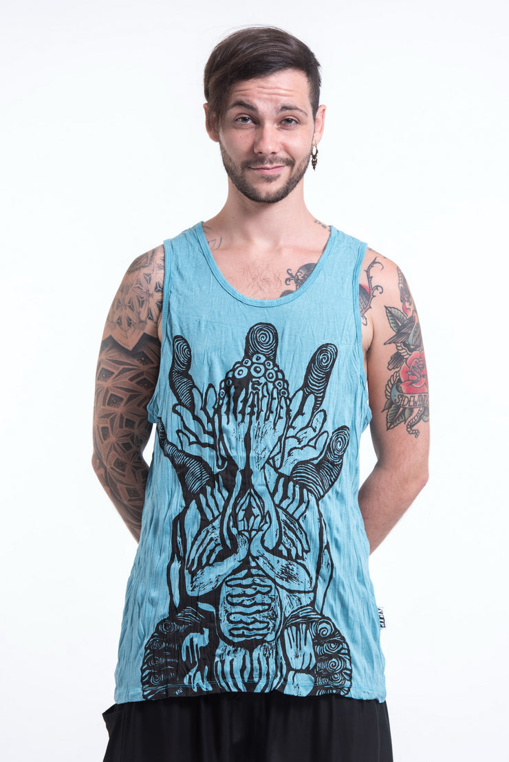Mens See No Evil Buddha Tank Top in Turquoise