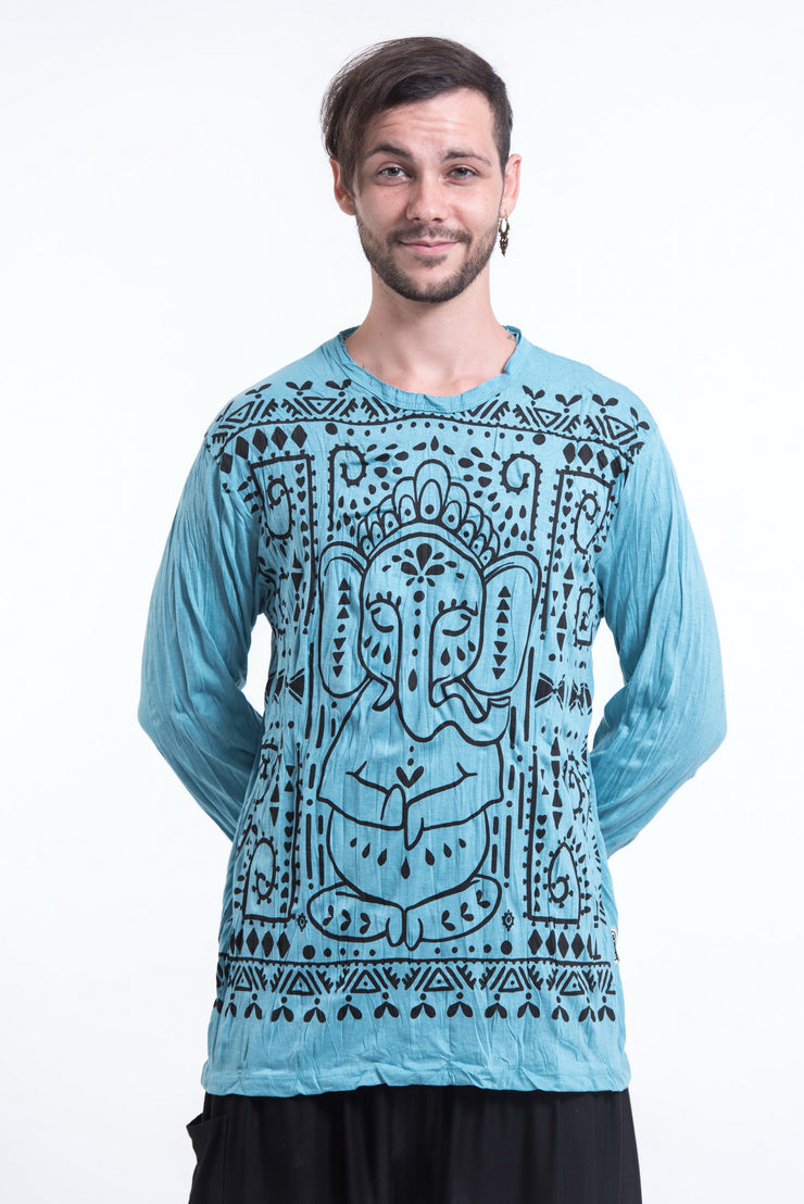Unisex Shanti Ganesh Long Sleeve T-Shirt in Turquoise