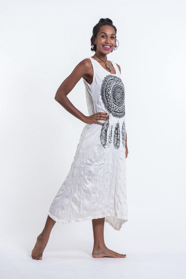 Womens Dreamcatcher Long Tank Dress in White