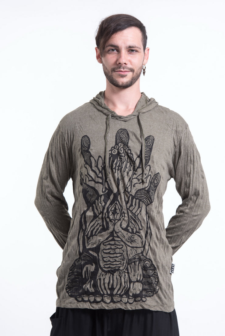 Unisex See No Evil Buddha Hoodie in Green