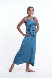 Womens Infinitee Om Long Tank Dress in Denim Blue