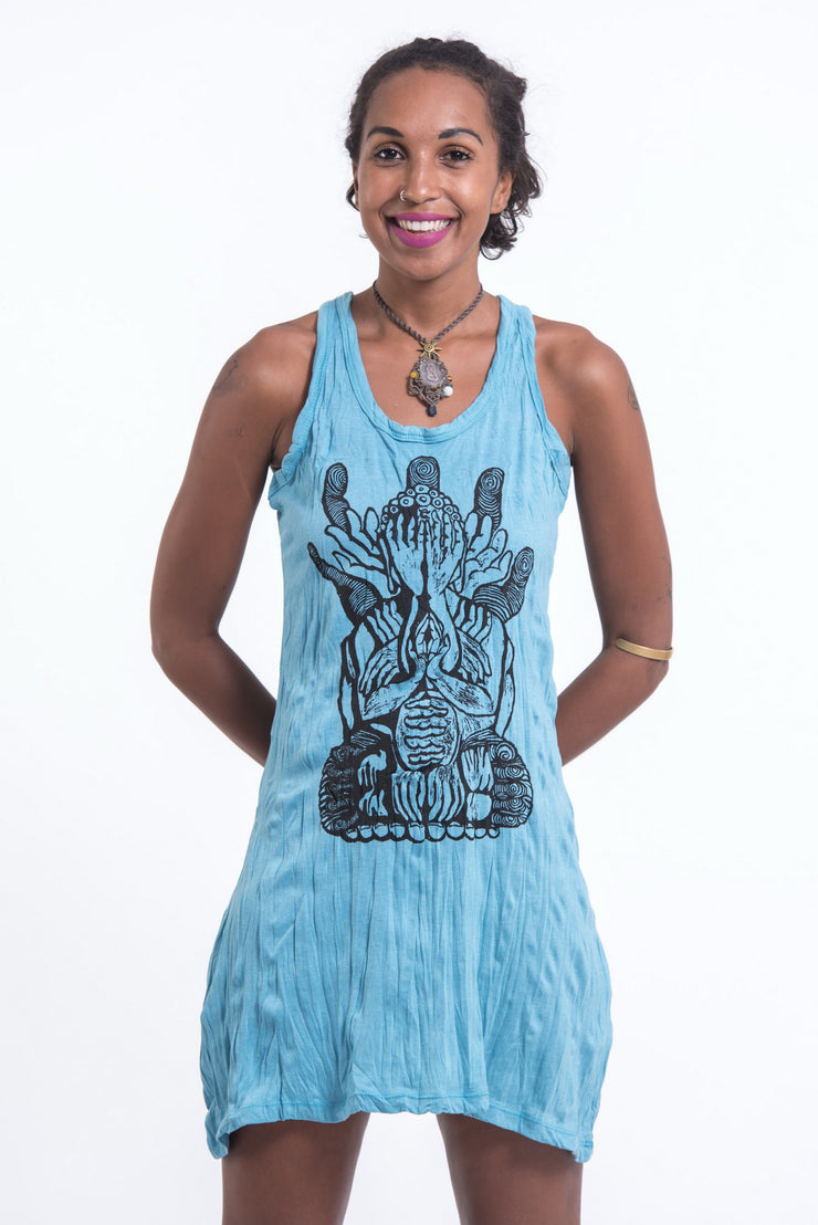 Womens See No Evil Buddha Tank Dress in Turquoise