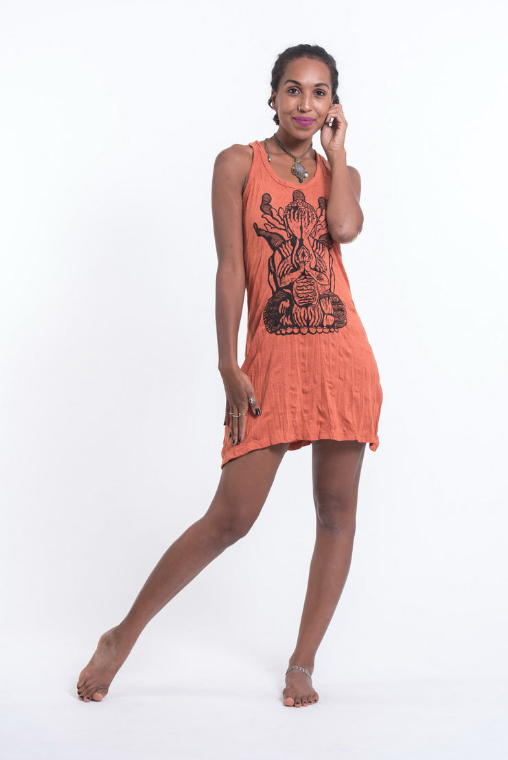 Womens See No Evil Buddha Tank Dress in Orange