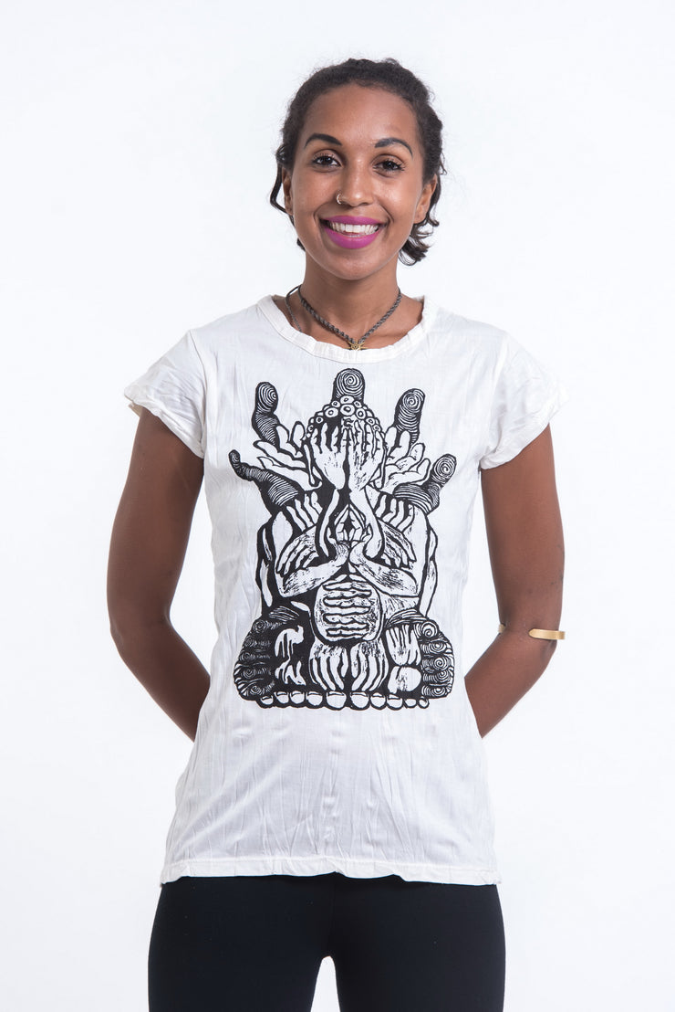 Womens See No Evil Buddha T-Shirt in White