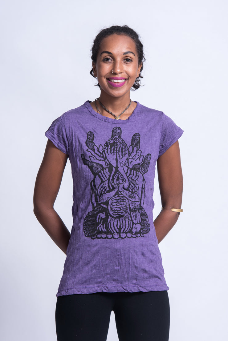 Womens See No Evil Buddha T-Shirt in Purple