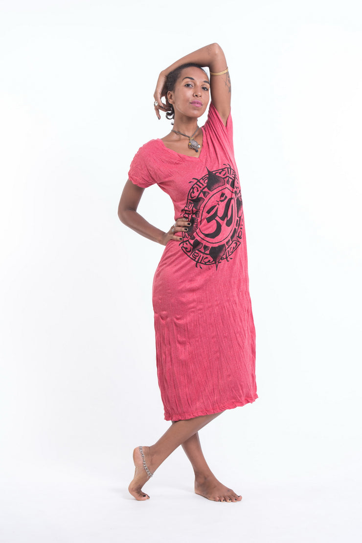 Womens Infinitee Om V Neck Long Dress in Red