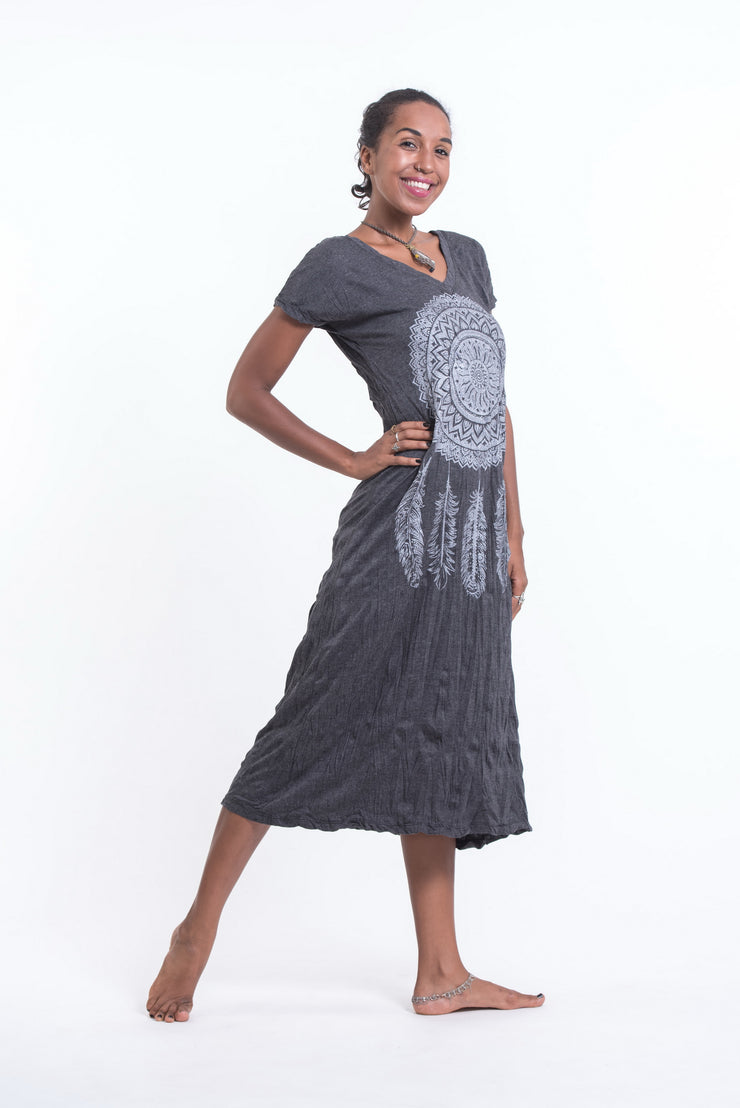 Womens Dreamcatcher V Neck Long Dress in Silver on Black
