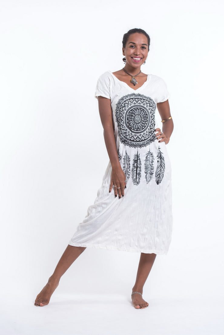 Womens Dreamcatcher V Neck Long Dress in White
