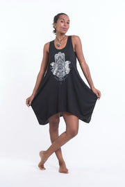 Womens Fatima Hand Tank Dress in Silver on Black