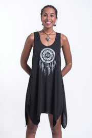 Womens Dreamcatcher Tank Dress in Silver on Black