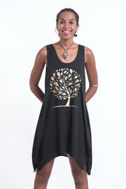 Womens Feather Tree Tank Dress in Gold on Black