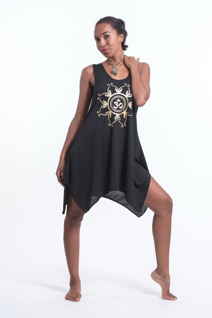 Womens Feather Om Tank Dress in Gold on Black