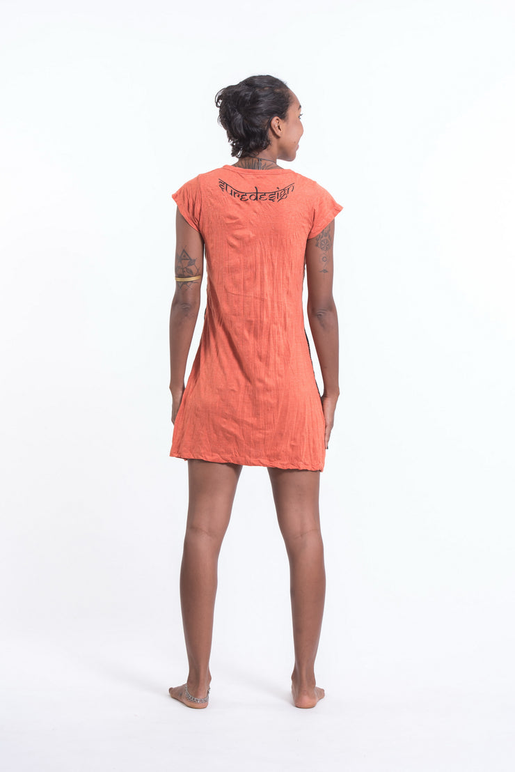 Womens Butterfly Buddha Dress in Orange