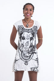 Womens Big Face Ganesh Dress in White