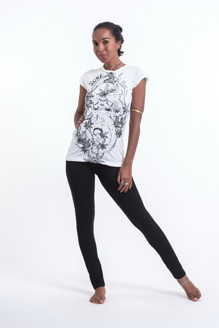 Womens Octopus Weed T-Shirt in White
