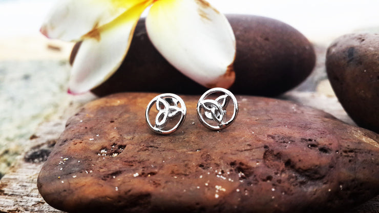 Trinity Circle Sterling Silver Stud Earrings