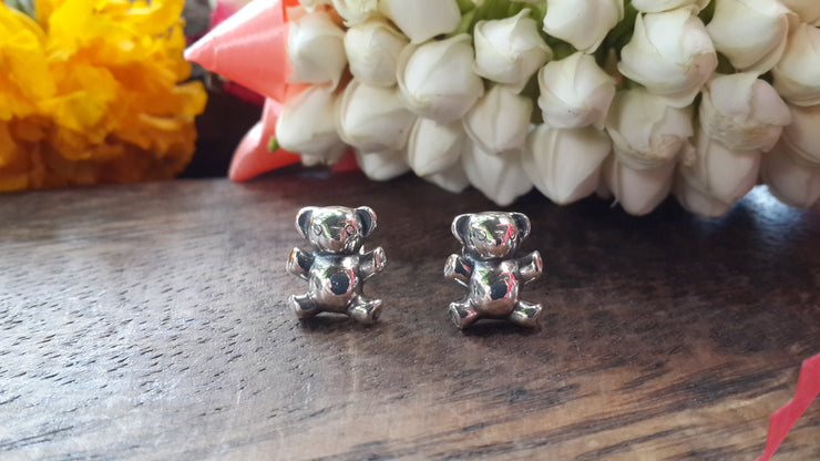 Bear Sterling Silver Stud Earrings