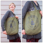 Yoga Cotton Tote Bag in Green