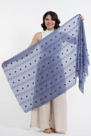 Cotton Blend Shawl Scarf with Pom Poms in Blue