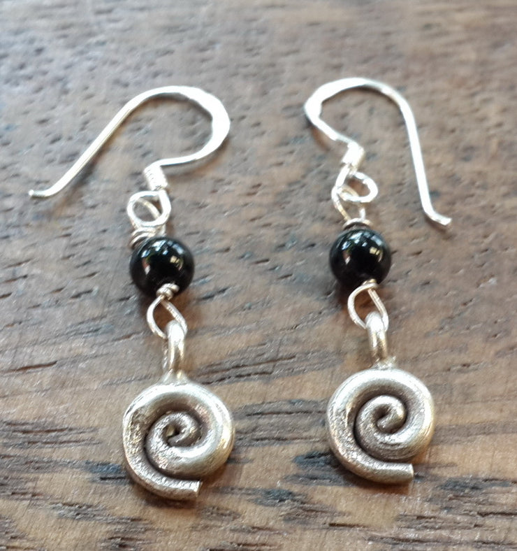Spiral Sterling Silver Earrings with Onyx