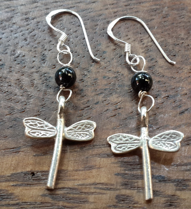 Dragonfly Sterling Silver Earrings with Onyx
