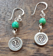Yin Yang Sterling Silver Earrings with Jade
