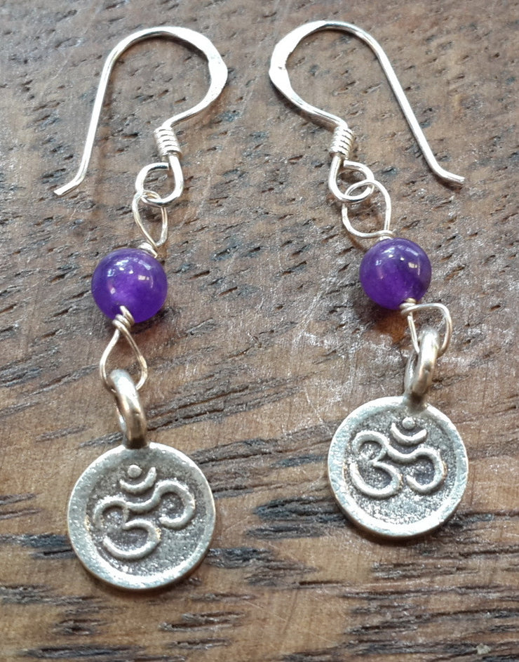 Om Sterling Silver Earrings with Amethyst