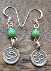 Om Sterling Silver Earrings with Jade