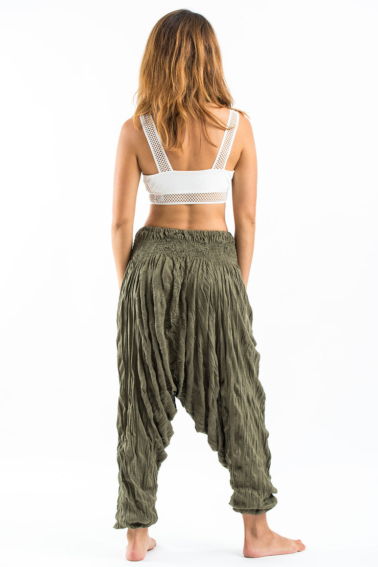 Unisex Crinkled Cotton Harem Pants in Green
