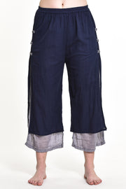 Womens Solid Color Double Layers Cropped Pants in Navy