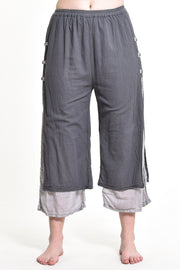 Womens Solid Color Double Layers Cropped Pants in Gray