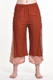 Womens Solid Color Double Layers Cropped Pants in Brick