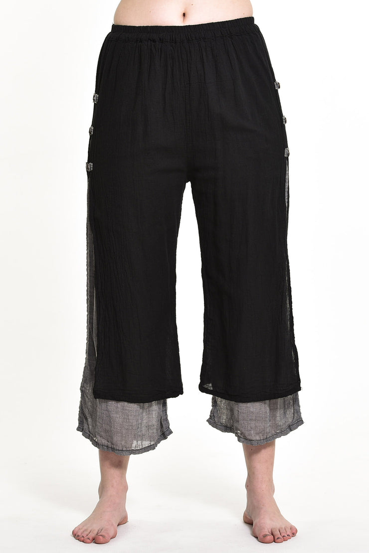 Womens Solid Color Double Layers Cropped Pants in Black